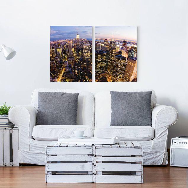 Produktfoto Leinwandbild 2-teilig - New York Skyline bei Nacht - Hoch 4:3, in Wohnambiente, Artikelnummer 212931-WA