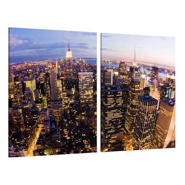 Produktfoto Leinwandbild 2-teilig - New York Skyline bei Nacht - Hoch 4:3, Spiegelkantendruck links, Artikelnummer 212931-FL