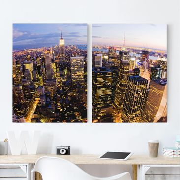 Immagine del prodotto Stampa su tela 2 parti - New York Skyline At Night - Verticale 4:3