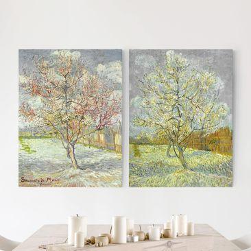 Produktfoto Leinwandbild 2-teilig - Vincent van Gogh - Blühende Pfirsichbäume im Garten - Hoch 4:3, vergrößerte Ansicht in Wohnambiente, Artikelnummer 212961-XWA