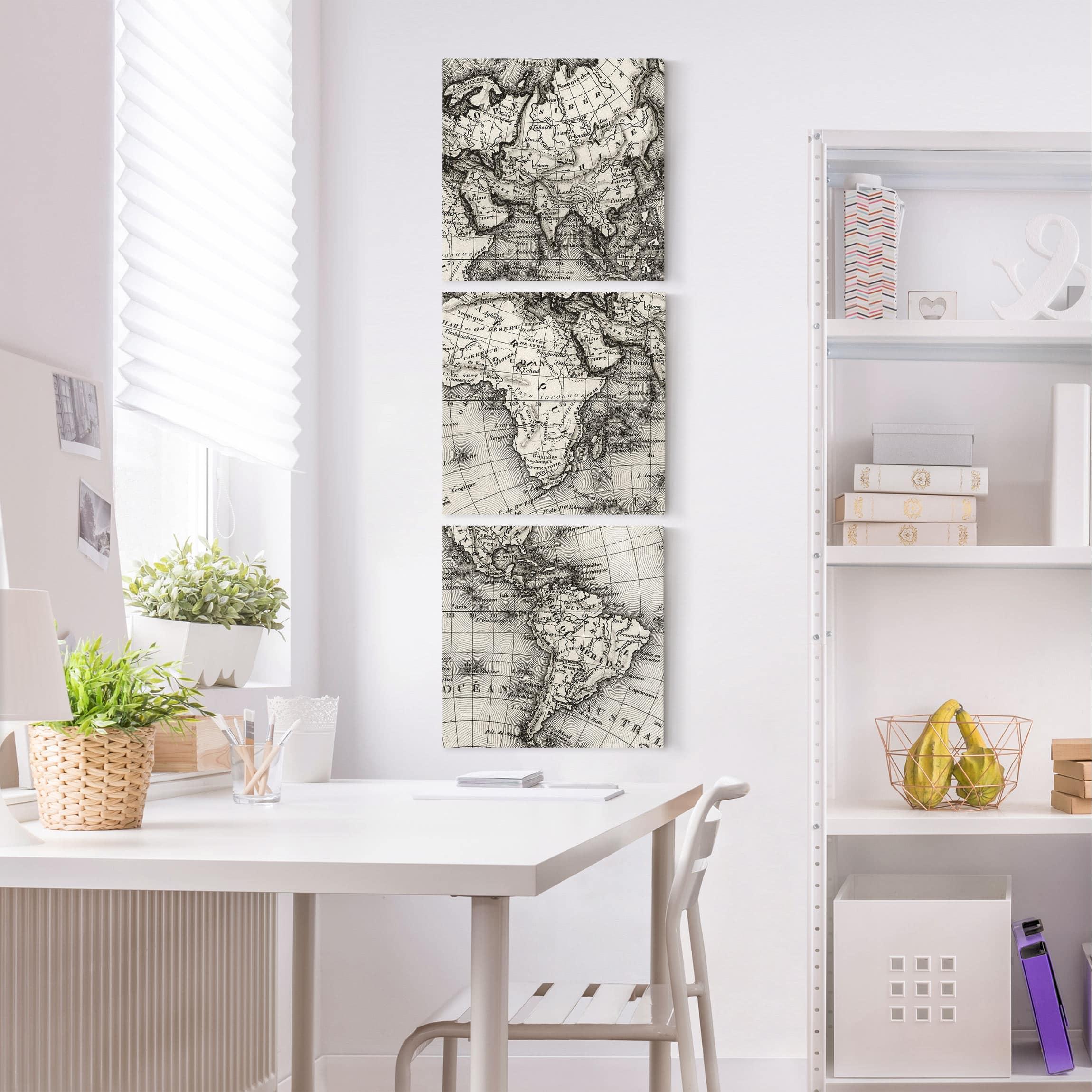 leinwandbild 3 teilig alte weltkarte details quadrate 1 1. Black Bedroom Furniture Sets. Home Design Ideas