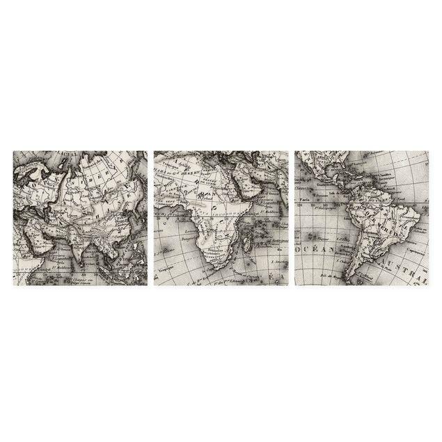 Produktfoto Leinwandbild 3-teilig - Alte Weltkarte Details - Quadrate 1:1, Spiegelkantendruck rechts, Artikelnummer 212976-FR