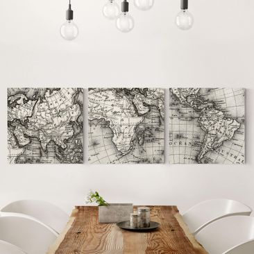 Produktfoto Canvas Art Three-part - Old World Map...
