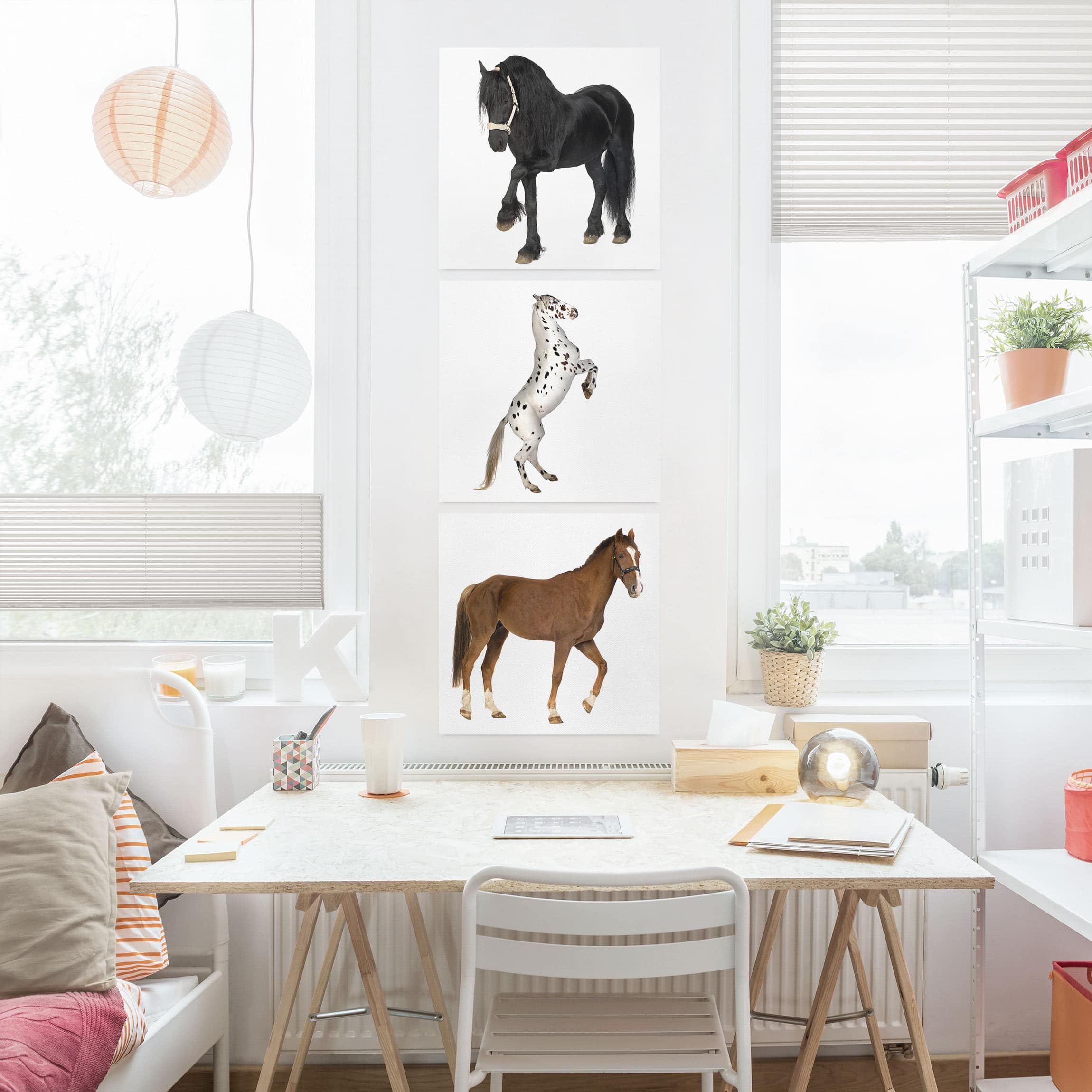 leinwandbild 3 teilig three horses trio quadrate 1 1. Black Bedroom Furniture Sets. Home Design Ideas