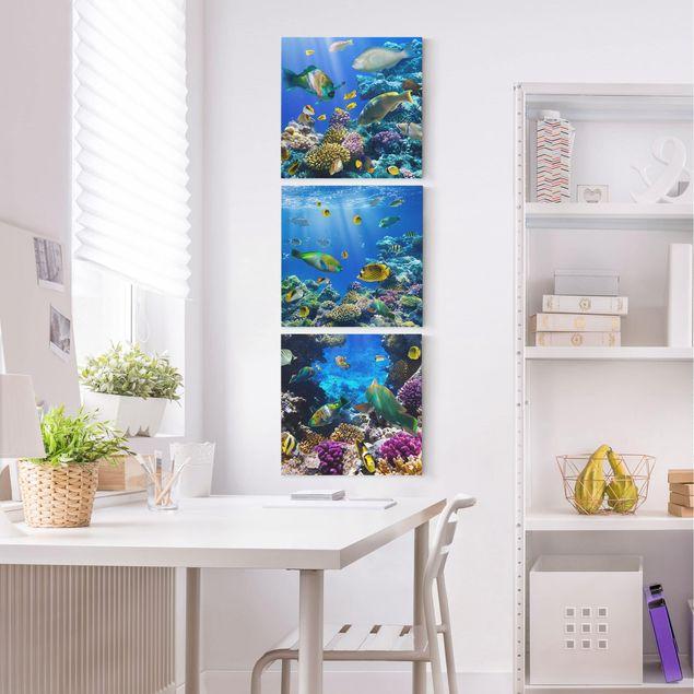 Produktfoto Leinwandbild 3-teilig - Underwater Trio - Quadrate 1:1, in Wohnambiente, Artikelnummer 213001-WA