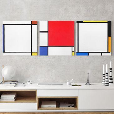 Produktfoto Leinwandbild 3-teilig - Piet Mondrian - Quadratische Kompositionen - Quadrate 1:1, vergrößerte Ansicht in Wohnambiente, Artikelnummer 213017-XWA