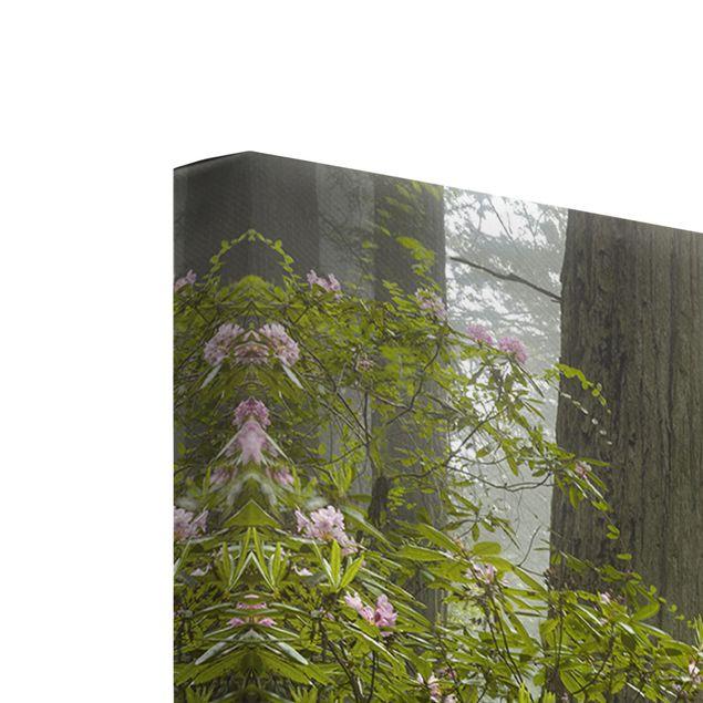 Produktfoto Leinwandbild 3-teilig - Nebliger Waldpfad - Hoch 2:1, Keilrahmen Rückseite, Artikelnummer 213225-FB