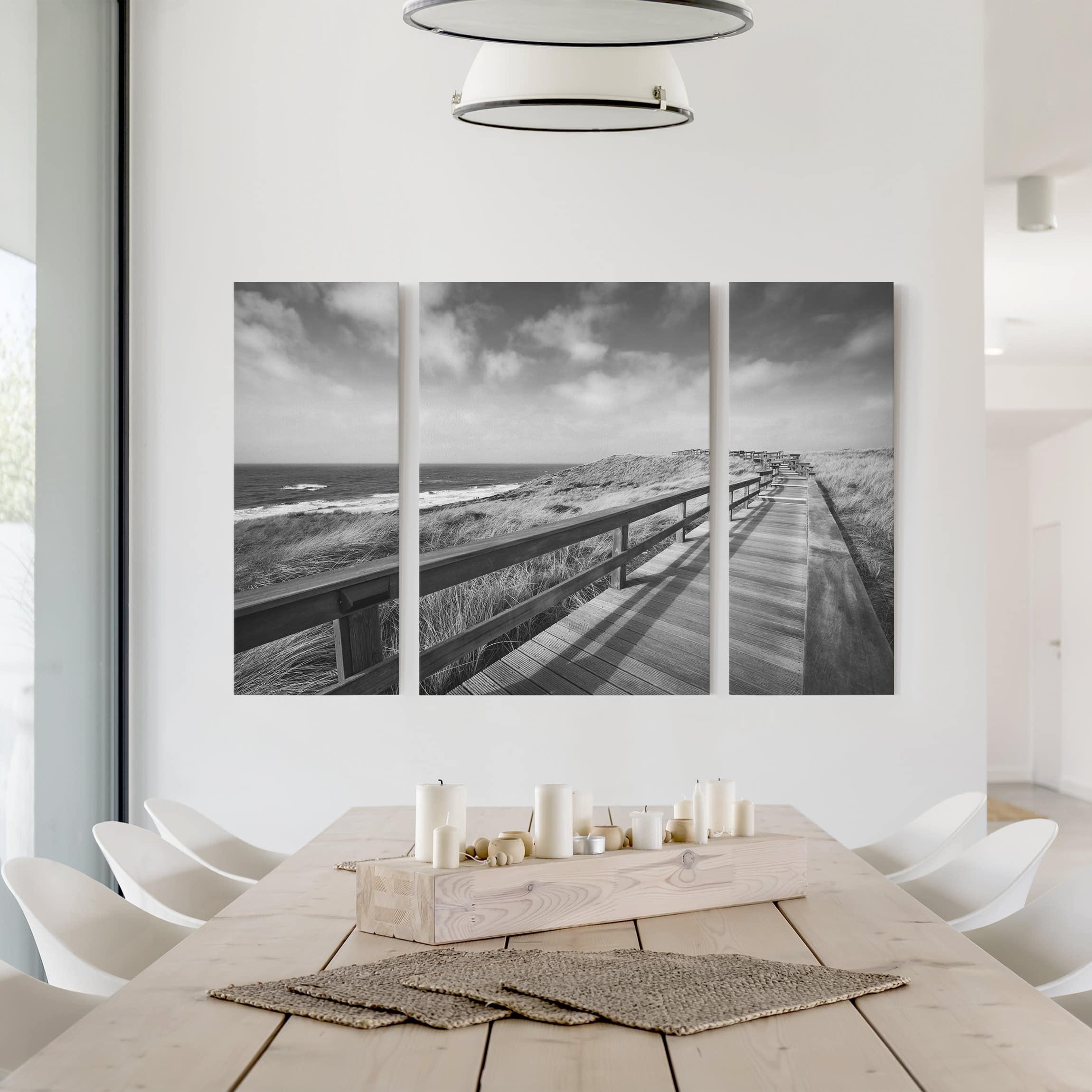 leinwandbild 3 teilig nordseespaziergang ii triptychon. Black Bedroom Furniture Sets. Home Design Ideas