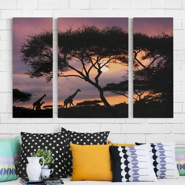 Produktfoto Leinwandbild 3-teilig - Safari in Afrika - Triptychon, vergrößerte Ansicht in Wohnambiente, Artikelnummer 213374-XWA