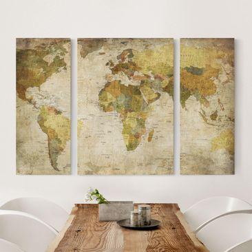 Immagine del prodotto Stampa su tela 3 parti - Map Of The World - Trittico