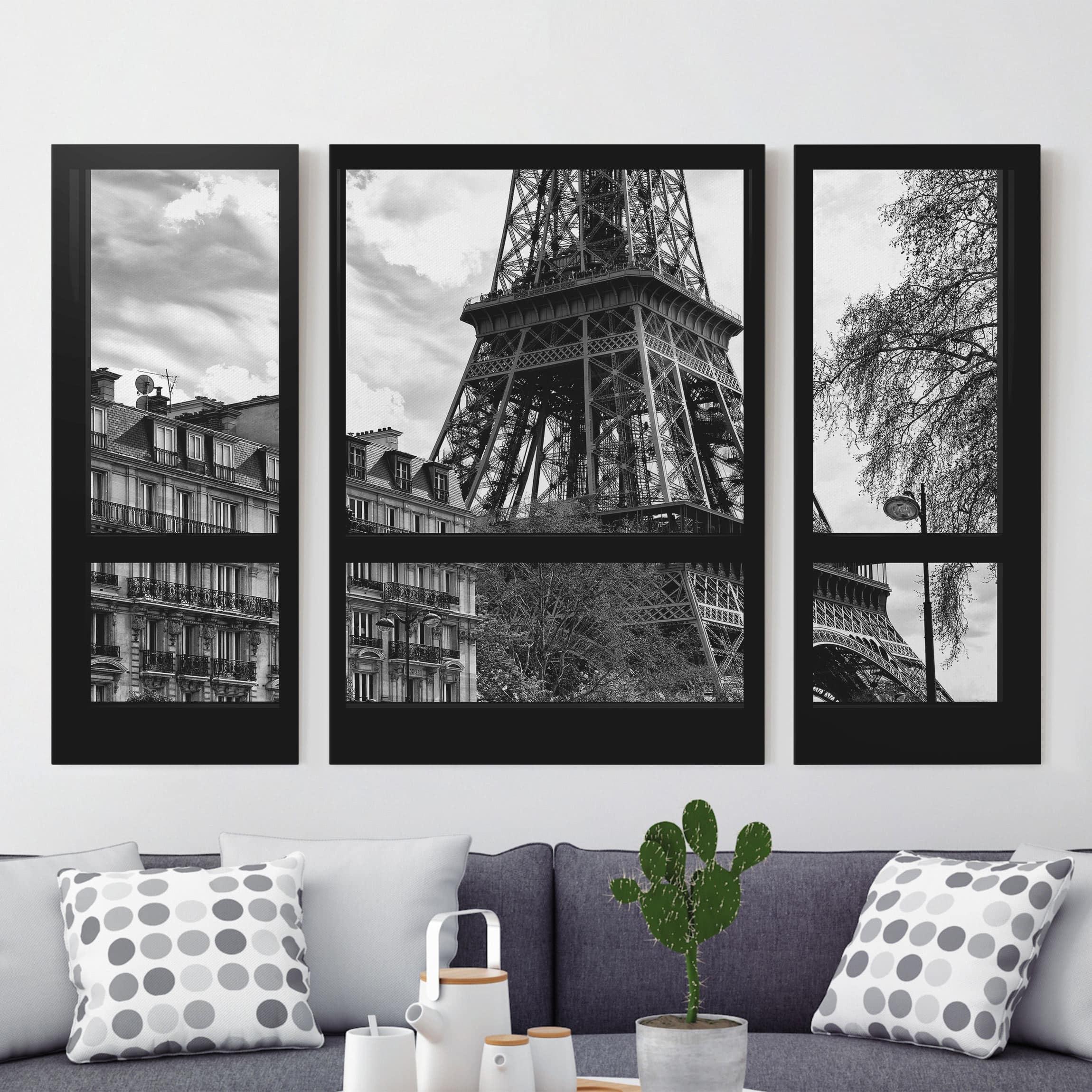 leinwandbild 3 teilig fensterausblick paris nahe am eiffelturm schwarz wei triptychon. Black Bedroom Furniture Sets. Home Design Ideas