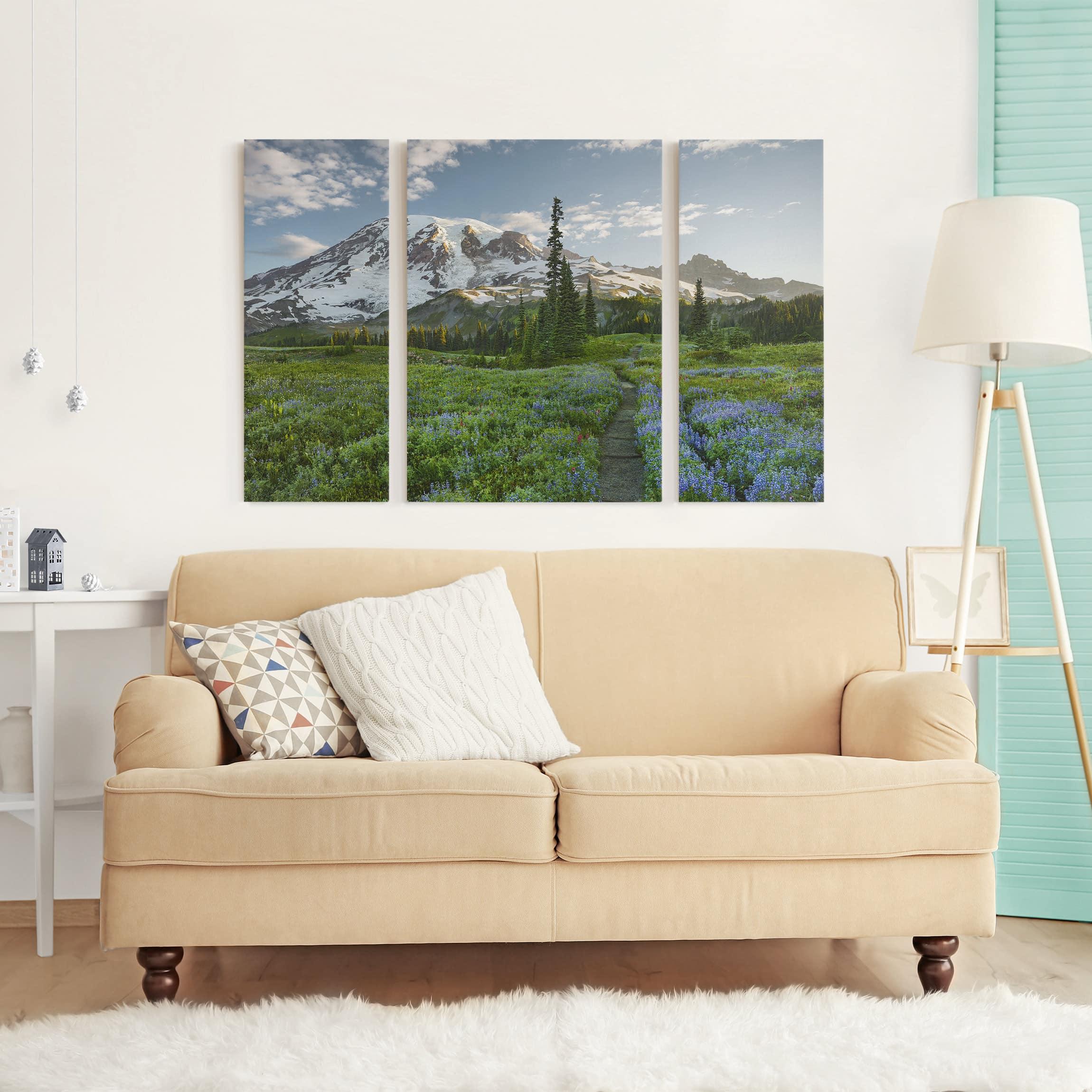 leinwandbild 3 teilig bergblick wiesenpfad triptychon. Black Bedroom Furniture Sets. Home Design Ideas