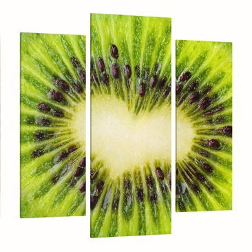 Product picture Canvas Art Three-part - Kiwi Heart -...