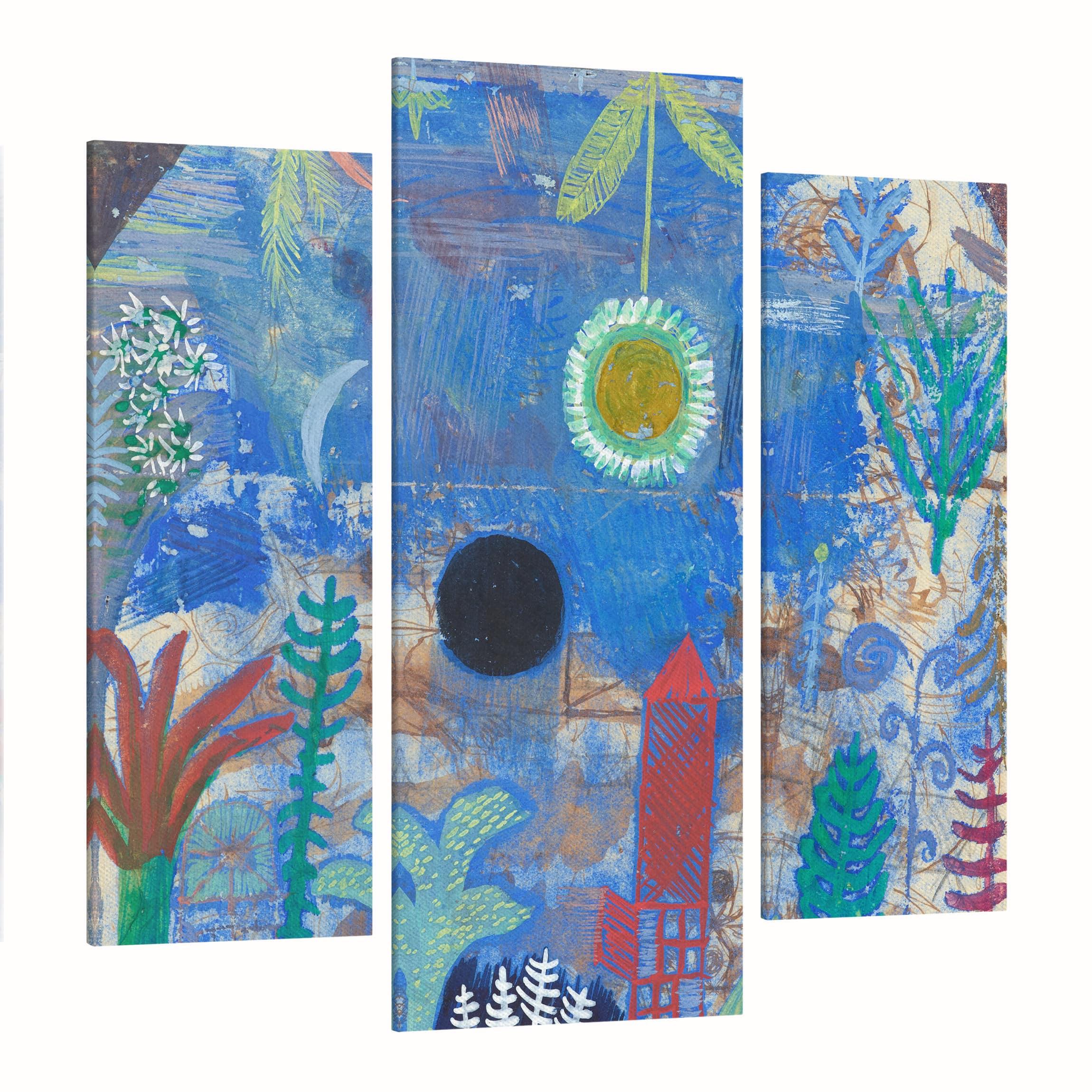 leinwandbild 3 teilig paul klee versunkene landschaft galerie triptychon. Black Bedroom Furniture Sets. Home Design Ideas