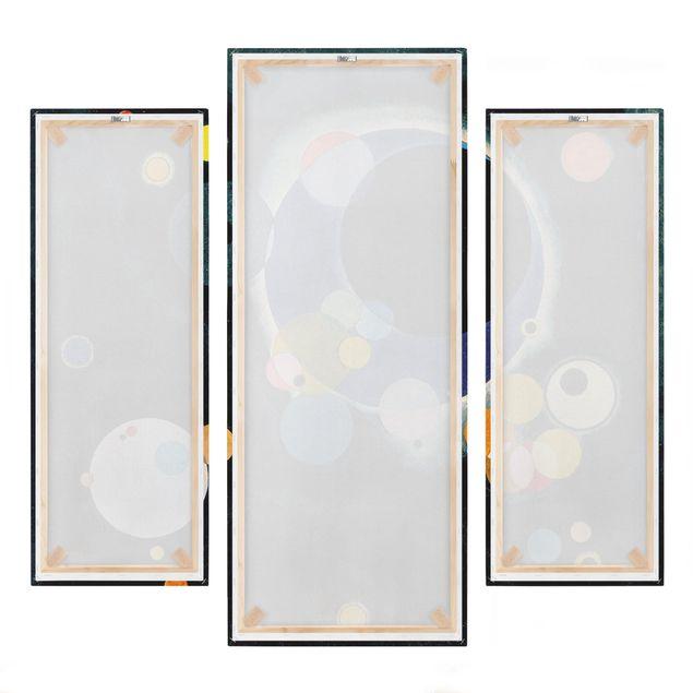 Produktfoto Leinwandbild 3-teilig - Wassily Kandinsky - Skizze für 'Einige Kreise' - Galerie Triptychon, Spiegelkantendruck rechts, Artikelnummer 213584-FR