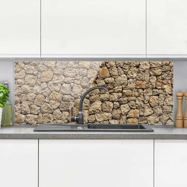 spritzschutz glas alte wand aus pflasterstein panorama quer. Black Bedroom Furniture Sets. Home Design Ideas