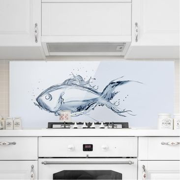 Immagine del prodotto Paraschizzi in vetro - Liquid Silver Fish - Panoramico