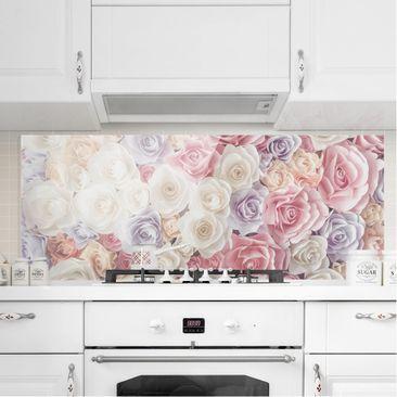 Produktfoto Spritzschutz Glas - Pastell Paper Art Rosen - Panorama Quer