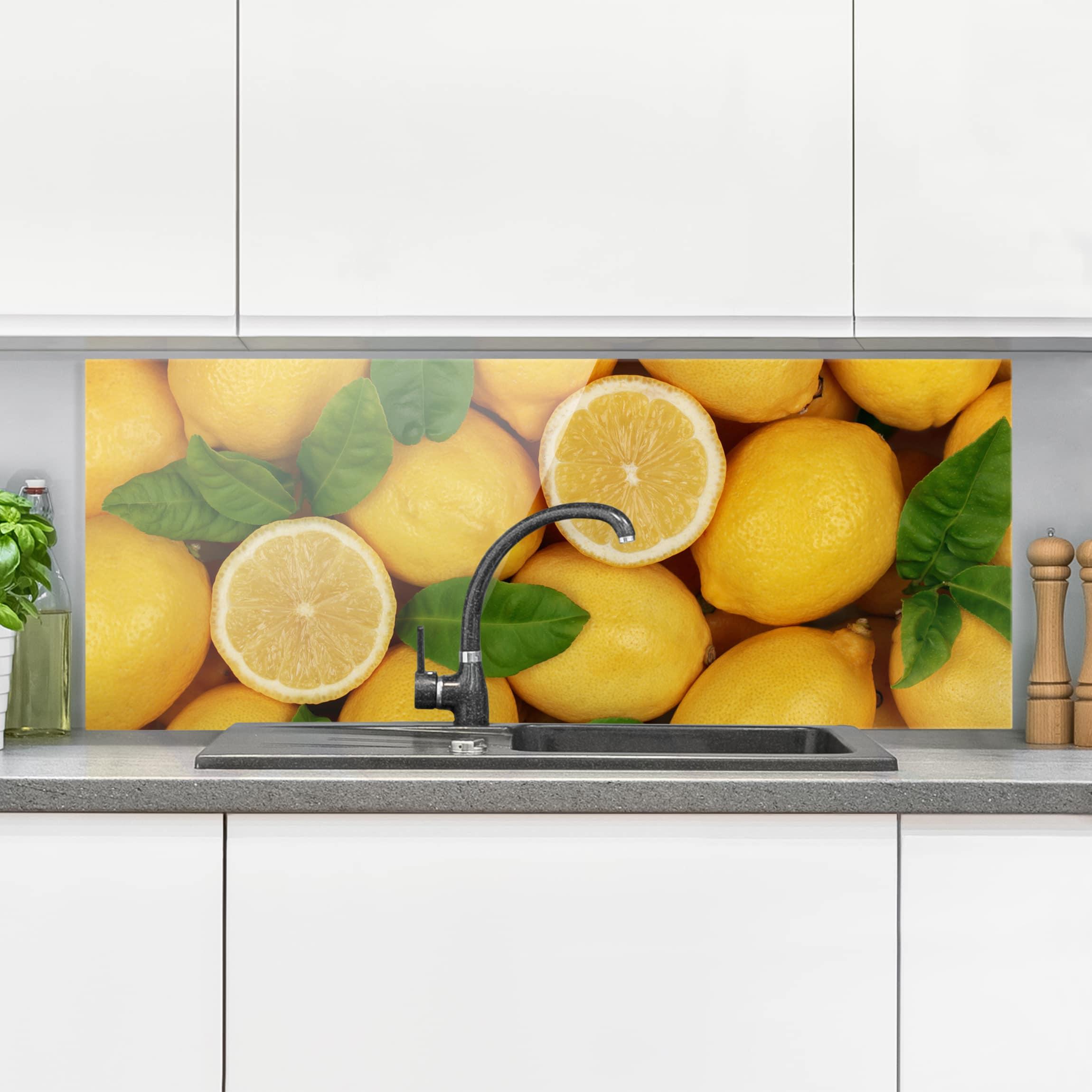 Spritzschutz Glas Saftige Zitronen Panorama Quer