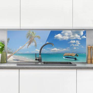 Produktfoto Spritzschutz Glas - Tropischer Strand - Panorama Quer