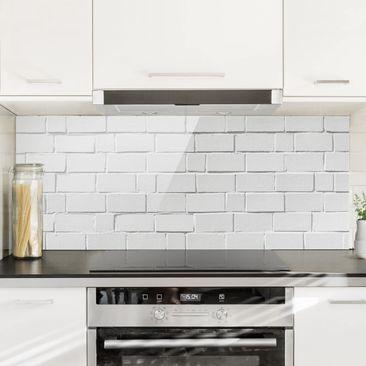 Immagine del prodotto Paraschizzi in vetro - White Stone Wall - Panoramico