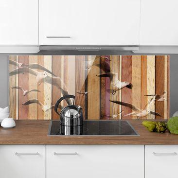 Immagine del prodotto Paraschizzi in vetro - Seagulls - Panoramico