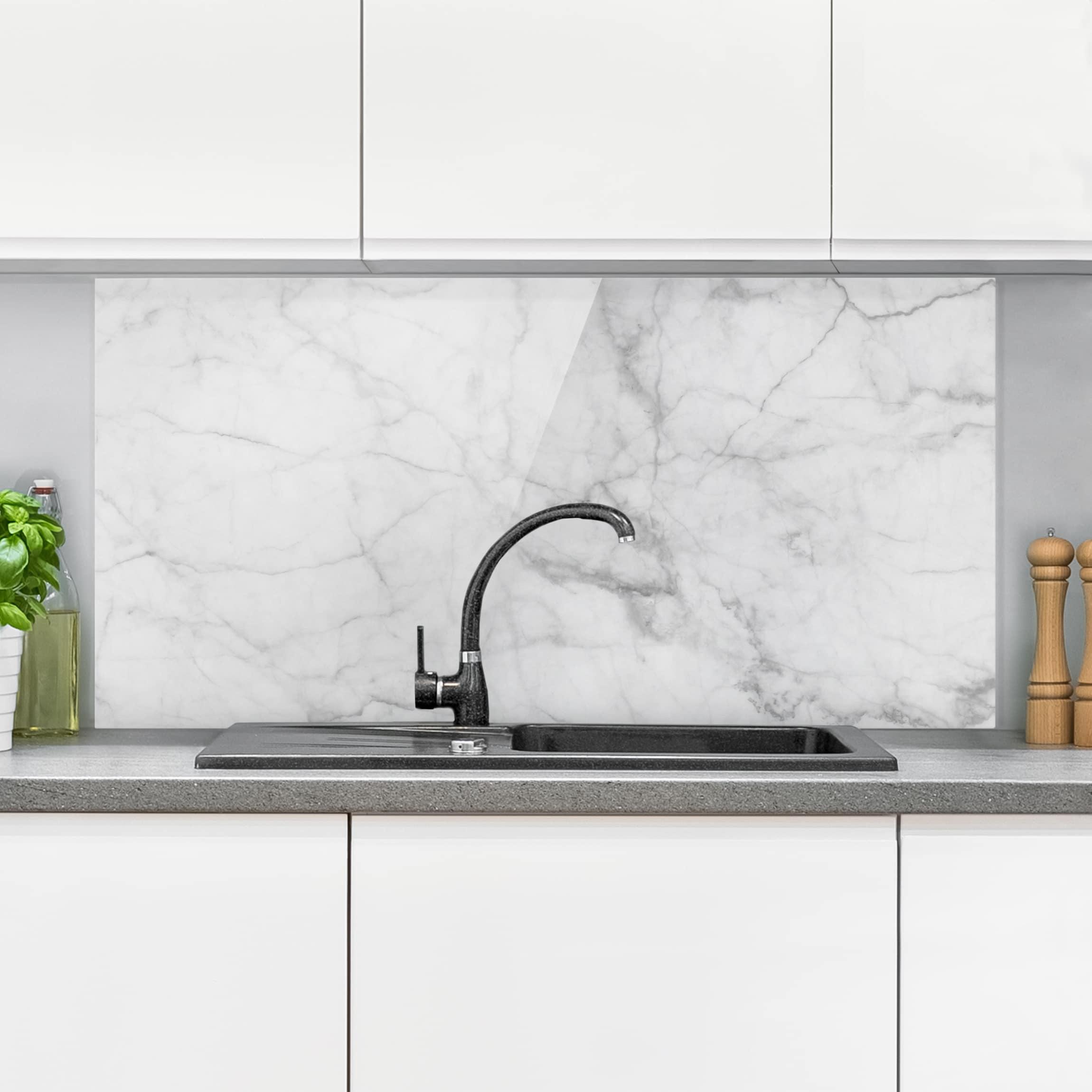 Komplett Kuchen Ausstattung Kuchenruckwand Spritzschutz Kuche Gehartetes Glas Marmor Textur Grau Kabtel Mk