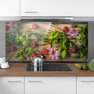 Produktfoto Spritzschutz Glas - Blumen Himbeeren Minze - Quer 1:2