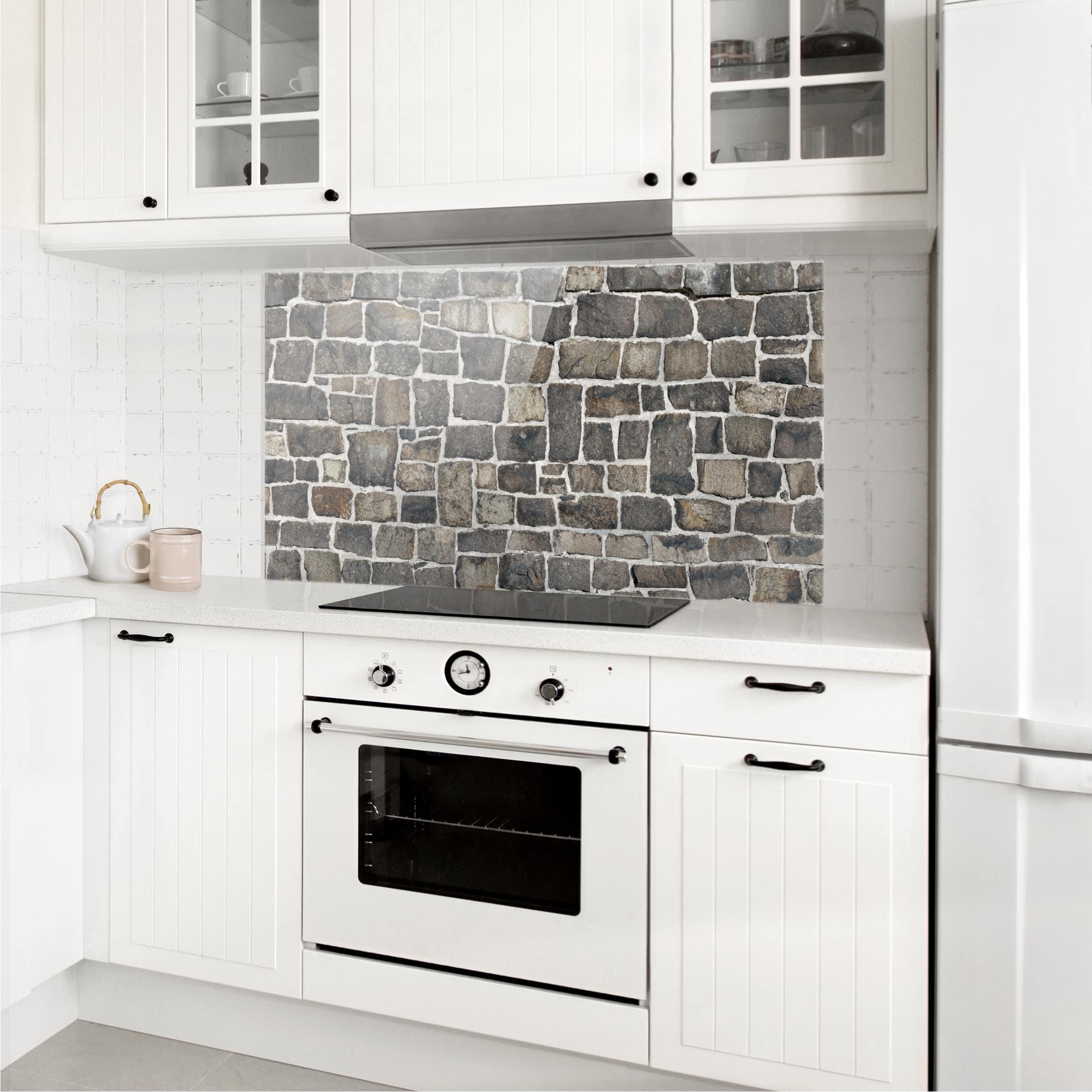 spritzschutz glas bruchsteintapete natursteinwand quer 1 2. Black Bedroom Furniture Sets. Home Design Ideas