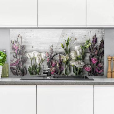 Produktfoto Spritzschutz Glas - Tulpen-Rose Shabby Holzoptik - Quer 1:2