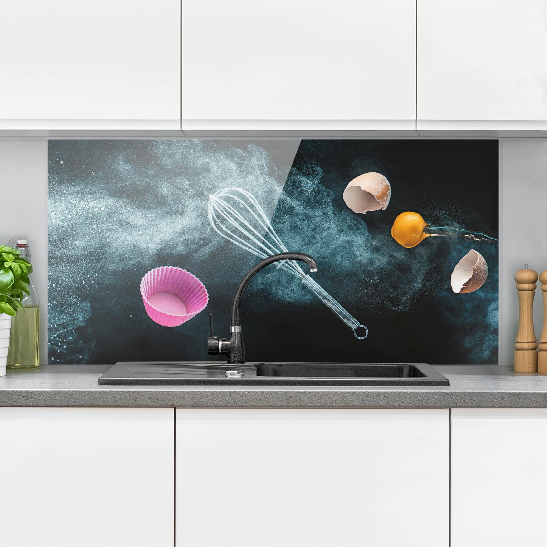 spritzschutz glas chaos in der k che quer 1 2. Black Bedroom Furniture Sets. Home Design Ideas