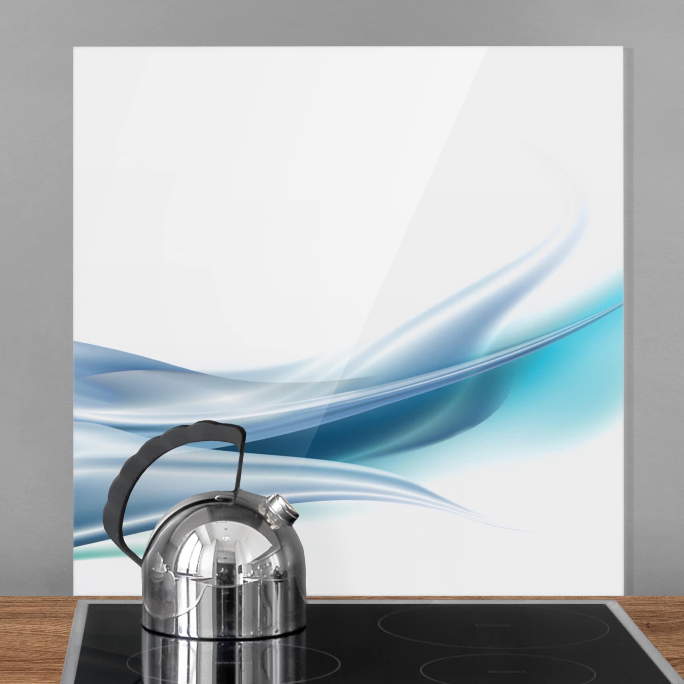 Spritzschutz glas blue dust quadrat 1 1 for Spritzschutz glas