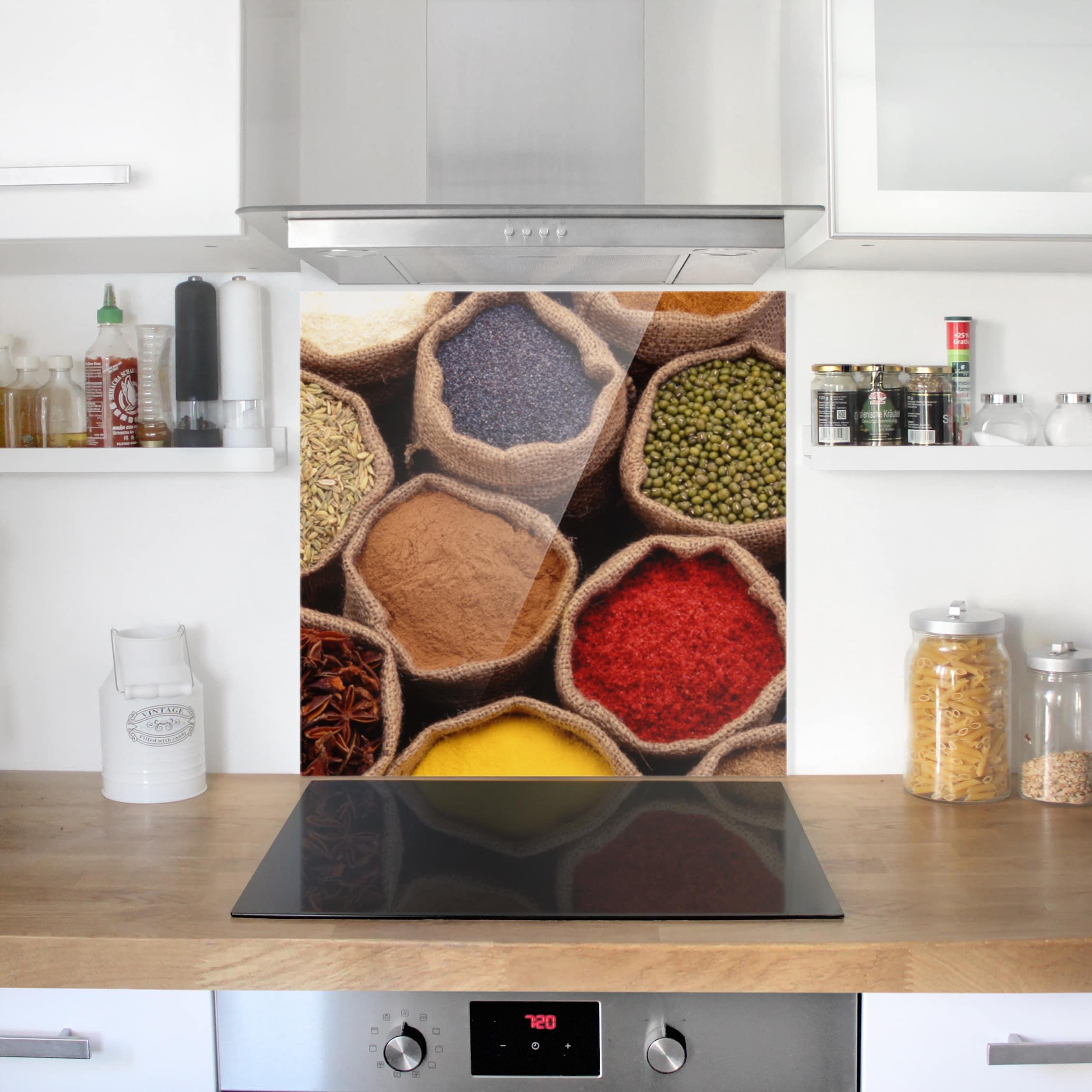 spritzschutz glas colourful spices quadrat 1 1. Black Bedroom Furniture Sets. Home Design Ideas