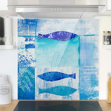 Produktfoto Spritzschutz Glas - Fish in the Blue - Quadrat 1:1