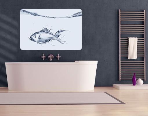 Produktfoto Selbstklebendes Wandbild Liquid Silver Fish
