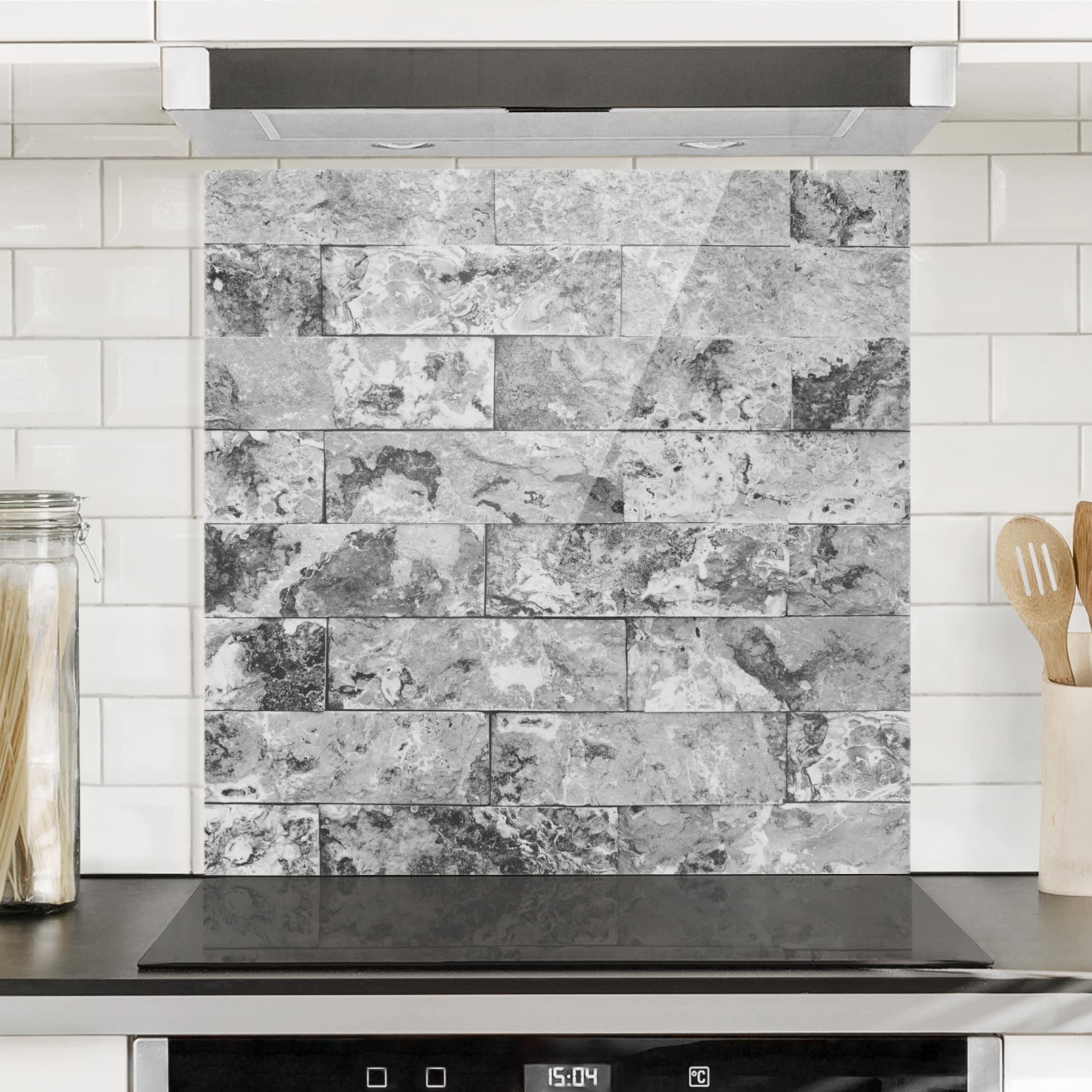 Spritzschutz glas steinwand naturmarmor grau quadrat 1 1 for Spritzschutz glas