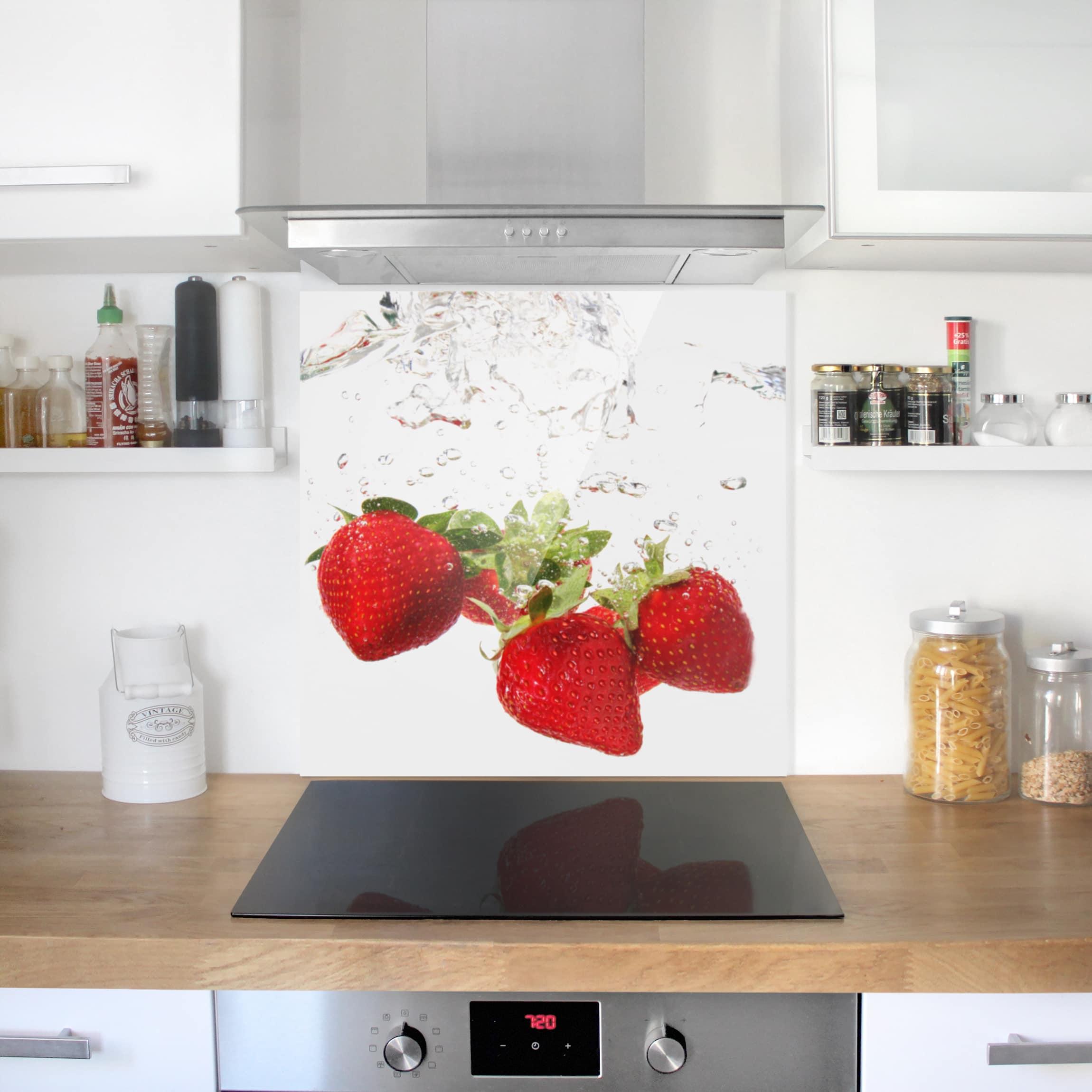 spritzschutz glas strawberry water quadrat 1 1. Black Bedroom Furniture Sets. Home Design Ideas
