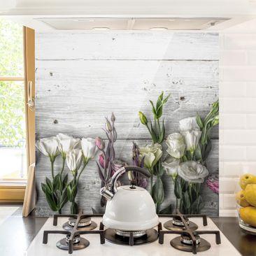 Produktfoto Spritzschutz Glas - Tulpen-Rose Shabby Holzoptik - Quadrat 1:1