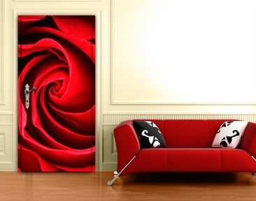 Produktfoto Door Wall Mural Red Rose Blossom