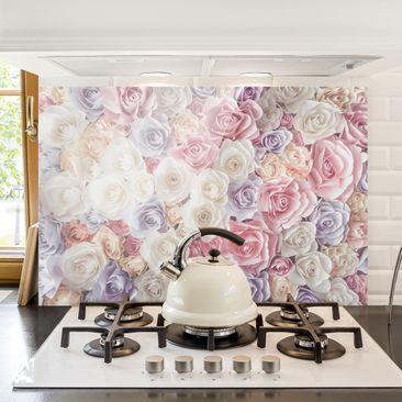 Produktfoto Spritzschutz Glas - Pastell Paper Art Rosen - Quer 2:3
