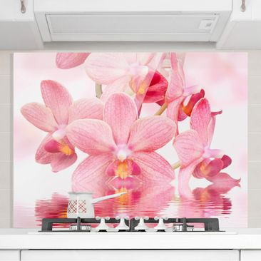 Produktfoto Spritzschutz Glas - Rosa Orchideen auf Wasser - Quer 3:4