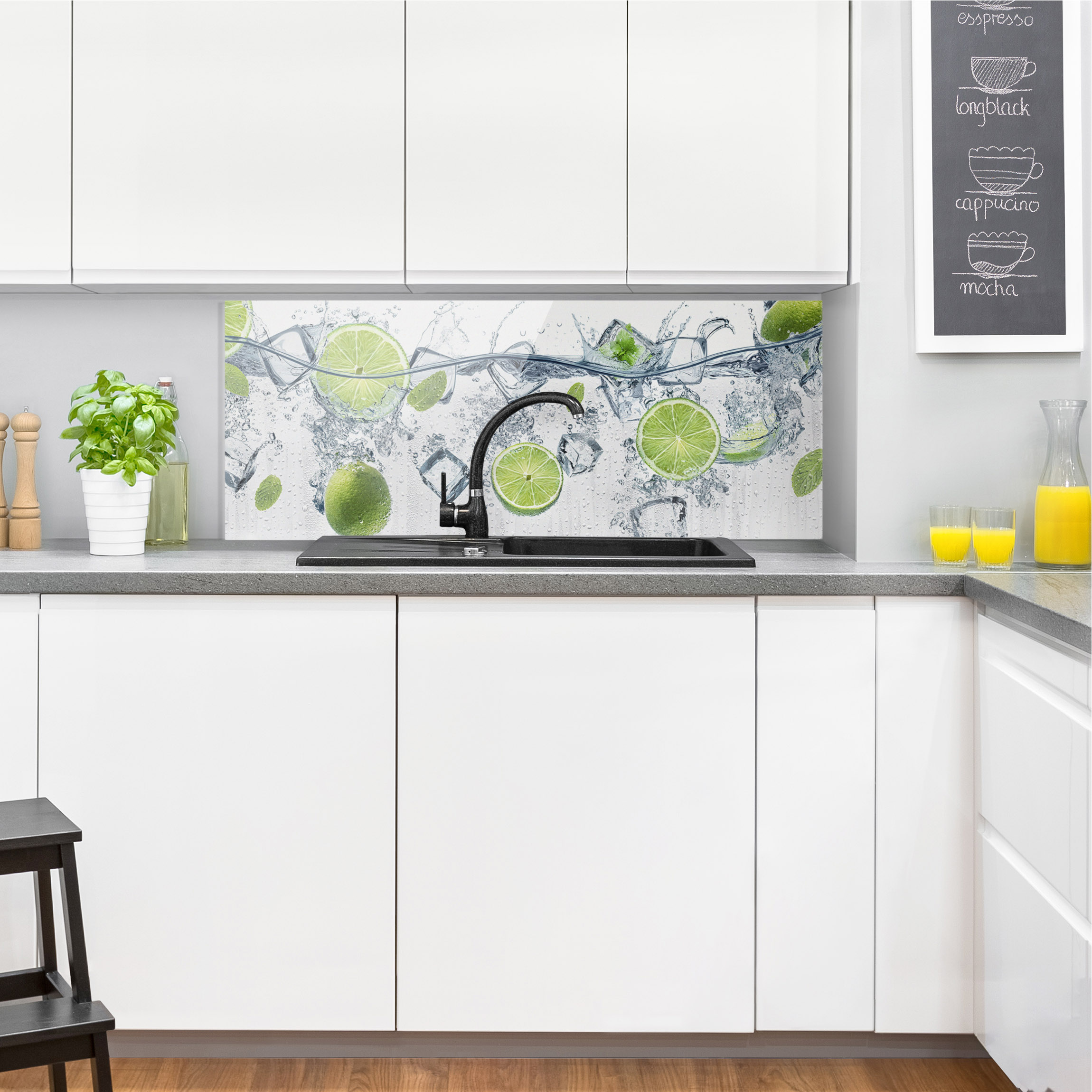 spritzschutz kuche glas limette. Black Bedroom Furniture Sets. Home Design Ideas