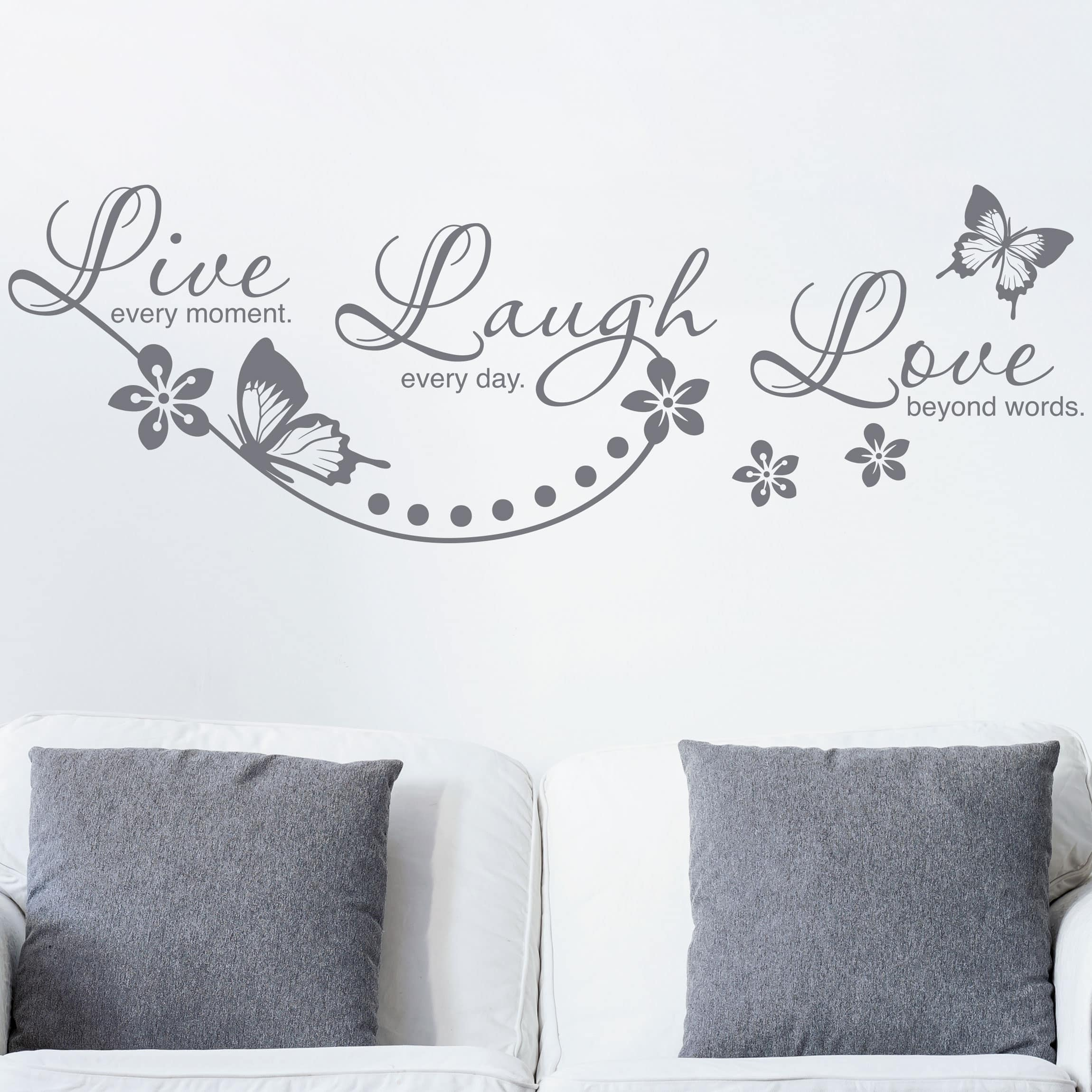 wandtattoo spr che live laugh love. Black Bedroom Furniture Sets. Home Design Ideas