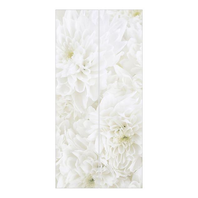 Produktfoto Schiebegardinen Set - Dahlien Blumenmeer weiß - 2 Flächenvorhänge