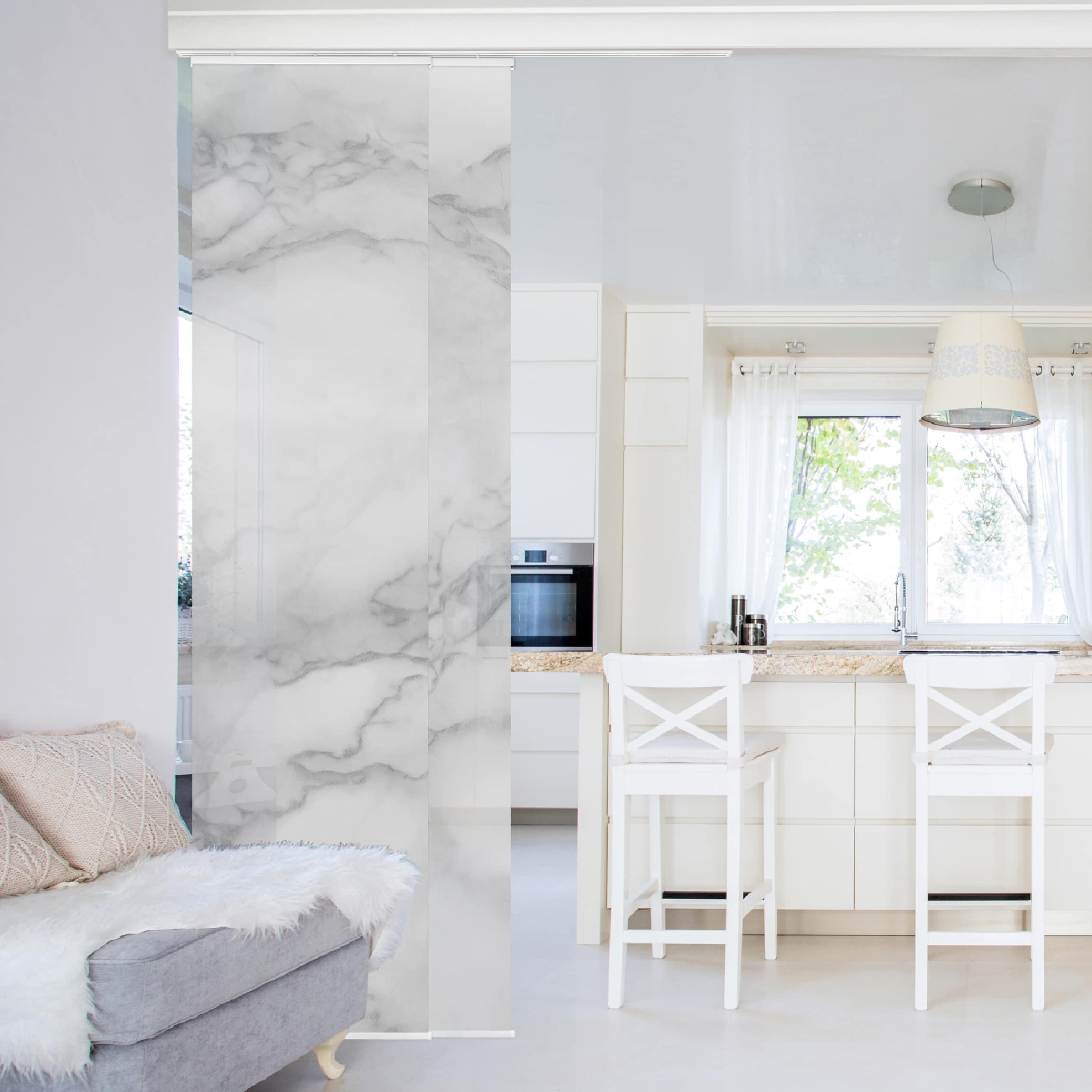 schiebegardinen set marmoroptik schwarz wei 2. Black Bedroom Furniture Sets. Home Design Ideas