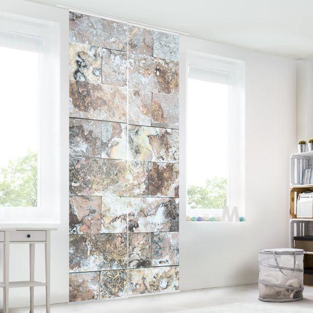 schiebegardinen set naturmarmor steinwand 2 fl chenvorh nge. Black Bedroom Furniture Sets. Home Design Ideas