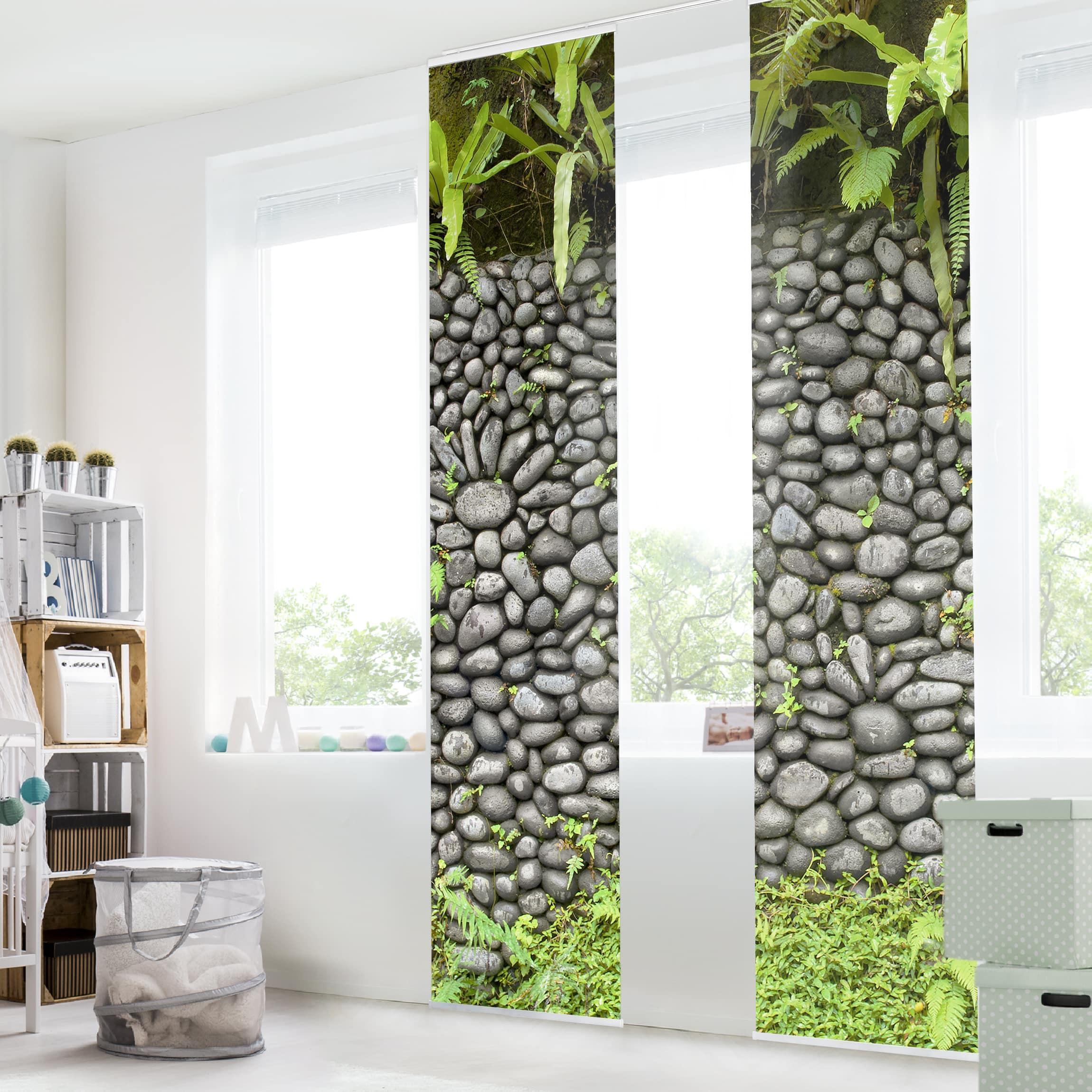 Schiebegardinen set steinwand mit pflanzen 2 for Wandhalterung pflanzen