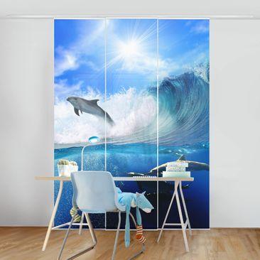Produktfoto Schiebegardinen Set - Playing Dolphins - 3 Flächenvorhänge