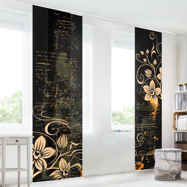 schiebegardinen set zarte ranken 3 fl chenvorh nge. Black Bedroom Furniture Sets. Home Design Ideas