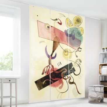 Produktfoto Schiebegardinen Set - Wassily Kandinsky - Taches: Verte et Rose (Flecken: Grün und Rosa) - 3 Flächenvorhänge